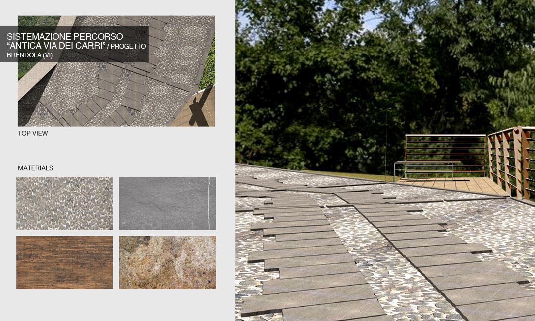 """2004 - Sistemazione percorso """"antica Via dei Carri"""" a Brendola (VI) / Progetto.  APM (Albiero, Faresin, Sbalchiero) con Archistudio  (Fantin e Pangrazi)"""