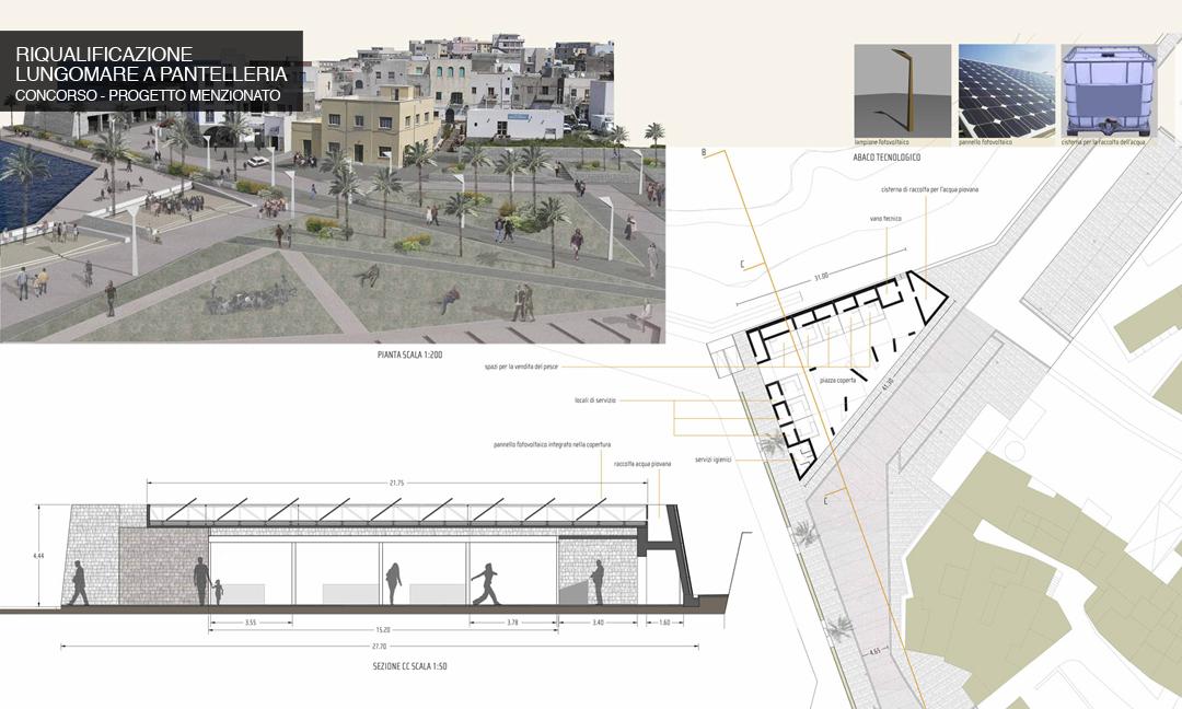 2010 - Riqualificazione degli spazi pubblici del lungomare a Pantelleria (TP). Concorso - Progetto menzionato. Con prof. Arch. Roberta Albiero e Vi.Tre studi
