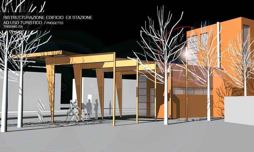 2004 - Ristrutturazione edificio  ex stazione ad uso turistico a Trissino (VI) / Progetto.  APM (Albiero, Faresin, Sbalchiero) con Archistudio  (Fantin e Pangrazi)
