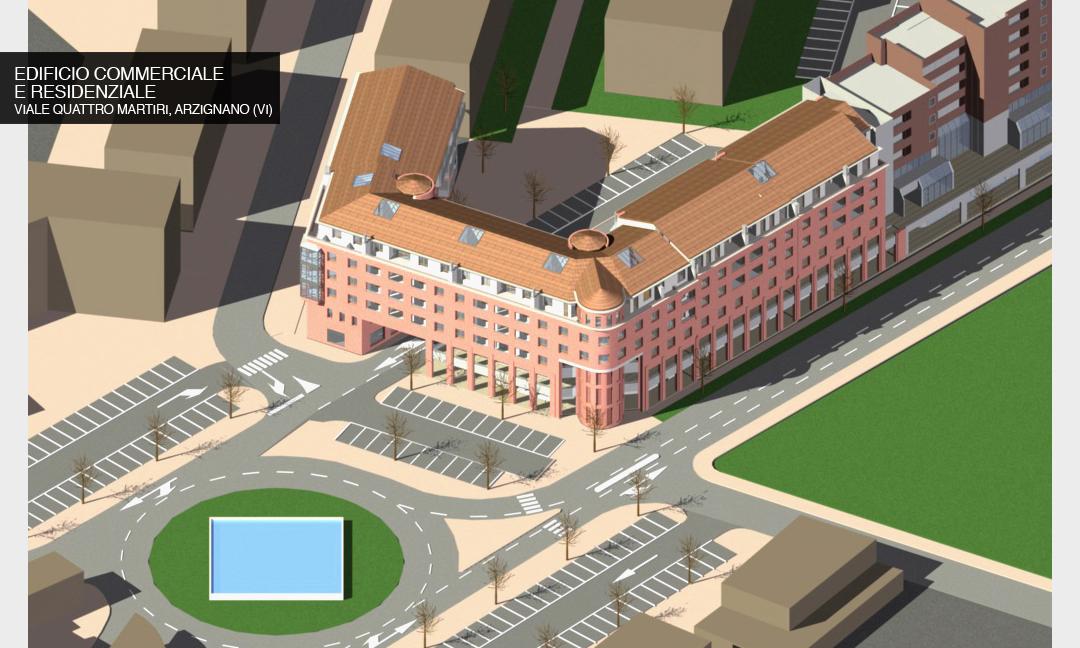 2002 - Edificio con 10 unità commerciali e direzionali e 55  appartamenti  in Viale Quattro martiri  ad Arzignano (VI).  APM (Albiero, Faresin, Sbalchiero)
